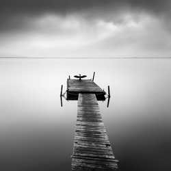 Fine art, black and white landscape photograph with birds in misty lakes
