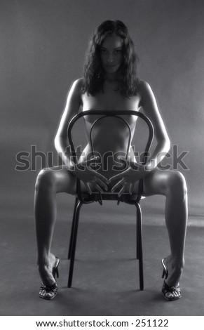 stock photo : Fine art black and white nude photograph
