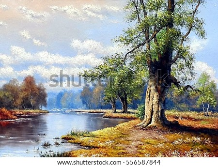 Fine art, landscape, river, oil paintings