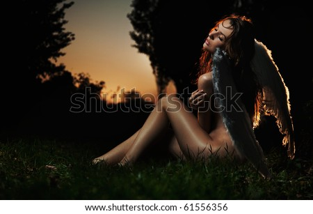 Fine art photo of a woman-angel