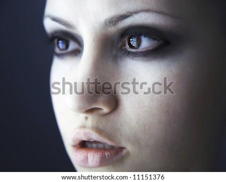 Fine art portrait of elegant girl. Studio photo. Beautiful woman