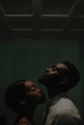 fine art portrait of gorgeous black couple. girl smelling boy's neck. perfume concept. kiss in neck. touchable love concept