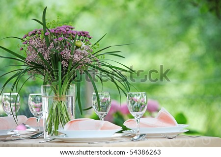 Fine Banquet Table Setting With Bouquet