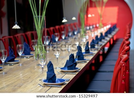 Fine Crystal Table Setting at a Restaurant.with Chinese features