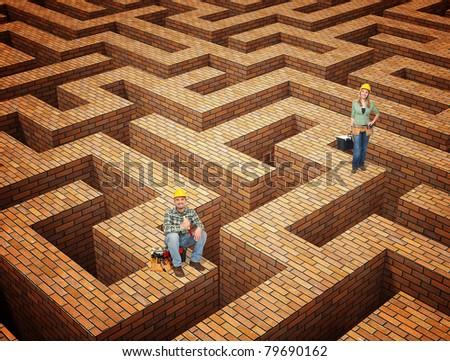 fine 3d illustration brick mace and worker