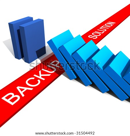 fine 3d illustration of metaphoric image show the utility of backup