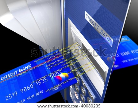 fine 3d image of classic cash machine, electronic money background