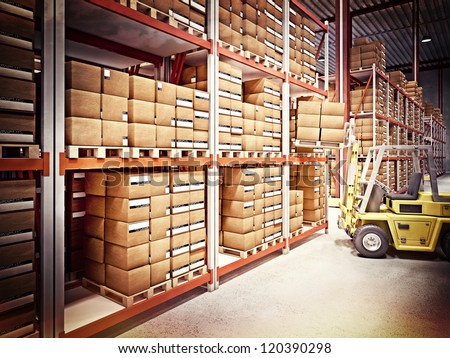 fine 3d image of classic warehouse vintage style