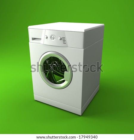 fine 3d image of classic washing machine with green background - stock photo