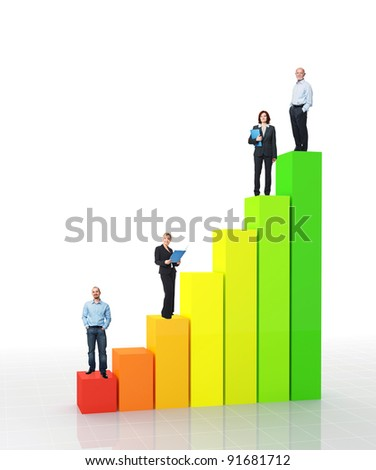 fine 3d image of financial graph and standing worker