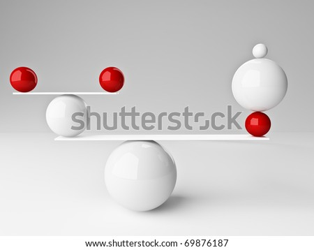 fine 3d image of red and white balanced balls background - stock photo