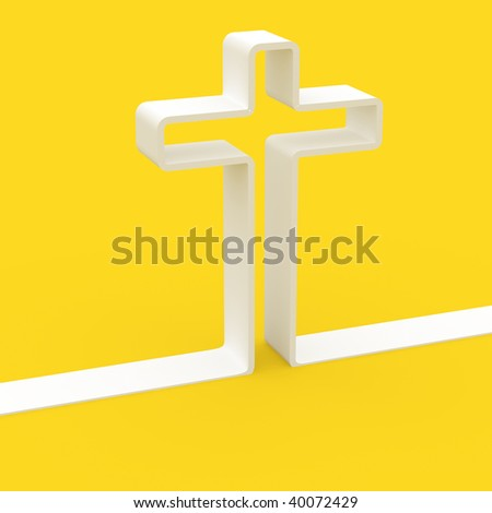 fine 3d image of white cross on yellow background colors of vatican