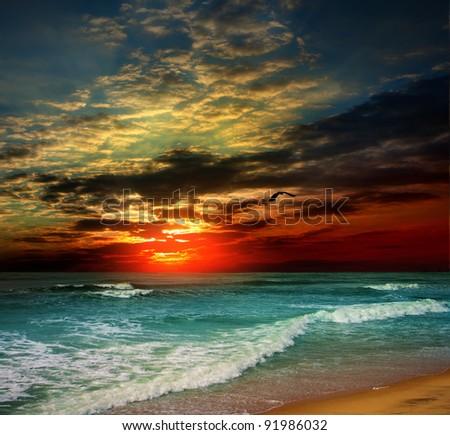 Fine dawn on island Bali - stock photo