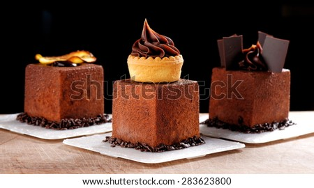 Fine dining, French dark chocolate gourmet mignon cakes