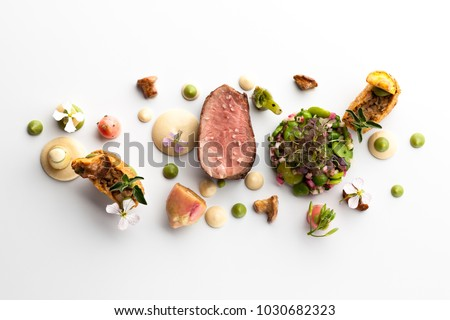 Fine dining meal in a fancy restaurant  #1030682323