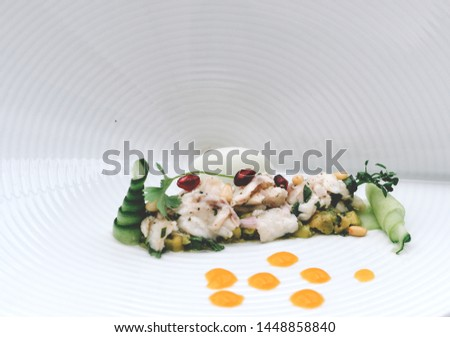 Fine dining meal in a fancy restaurant. Fancy dish #1448858840