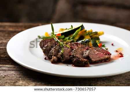 Fine dining, roasted steaks with vegetable