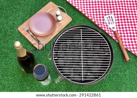 Fine Dining With Champagne Wine On The Summer Fresh Lawn. Outdoor Backyard BBQ Holiday Grill Party Or Weekend Picnic Concept. Overhead View