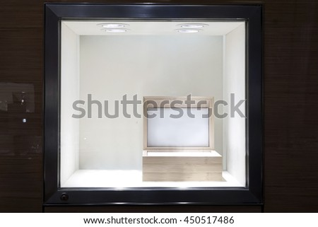 Fine empty glass showcase display with wooden box inside #450517486