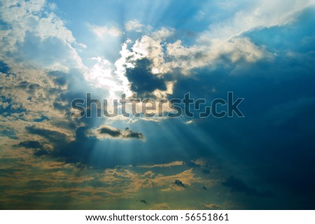fine evening glow under low clouds