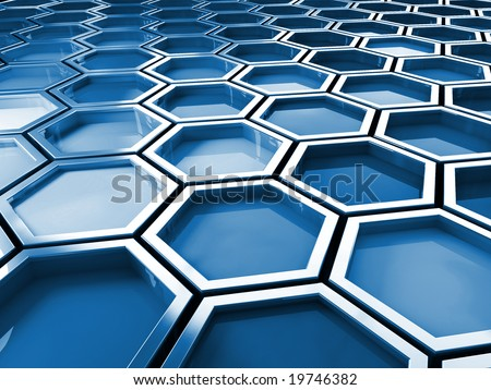 fine image 3d of blue tone hexagon background