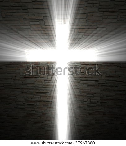 fine image of Christian cross of light background - stock photo