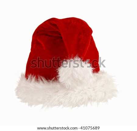 fine image of classic cap of santa claus isolated on white background