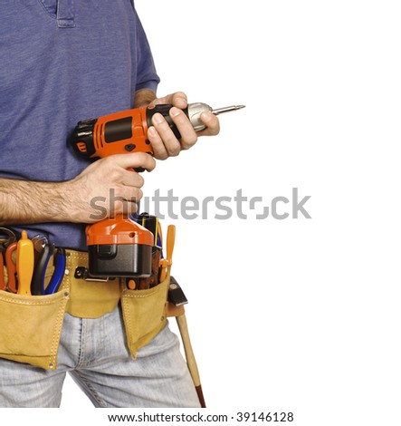 fine image of handyman, detail on red drill