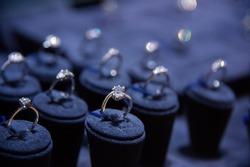 Fine luxury diamond jewellery window display with ring  pedant