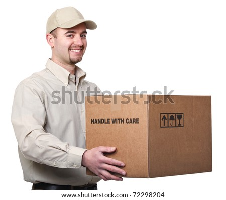 fine portrait of caucasian delivery man holding box isolated on white
