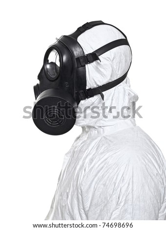 fine portrait of man with classic mask gas isolated on white