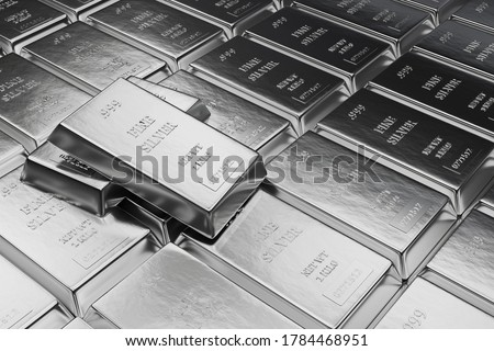 Fine Silver bars or ingots in bank vault background. Precious metal.3d illustration Stock photo ©