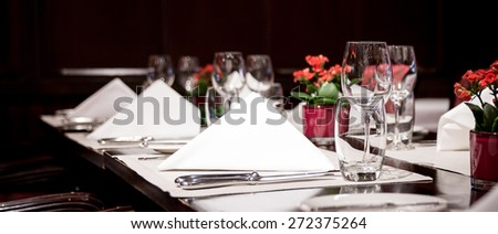 Fine table setting in a luxurious restaurant #272375264