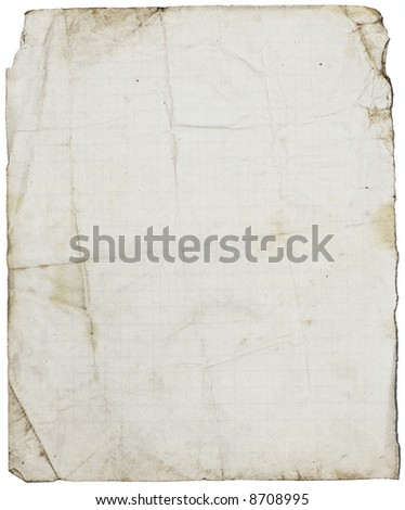 Fine textured dirty old school paper page from coppy-book with folds & stains. Isolated on white - stock photo