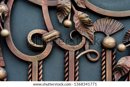 Fine wrought iron gates. Ornate elements #1368341771