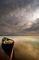 Fineart Wooden boat on the manyas lake