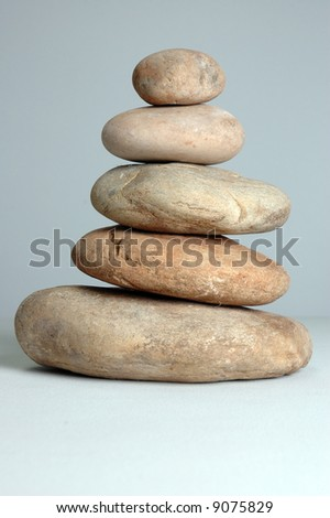 Finely balanced tower of natural stones.