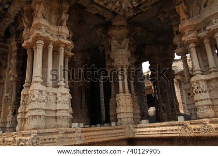 Finely carved collonades on the exterior of Virupaksha Vishnu Temple, Vijayanagar,Karnataka, India