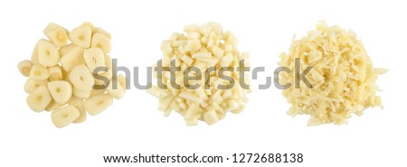 finely chopped garlic, grated garlic, set of three kinds isolated on white background, top view