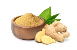 Finely dry Ginger powder in wooden bowl with  rhizome (root) sliced and green leaves isolated on white background.