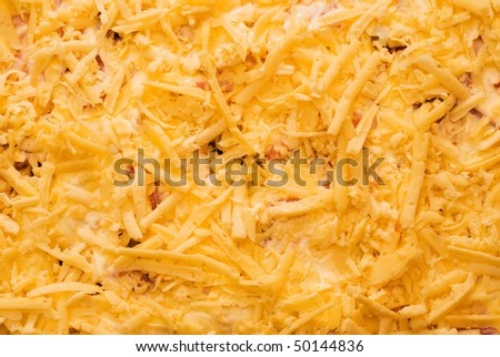 finely grated cheese, texture, yellow