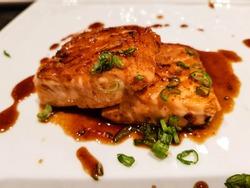 finest Salmon Steak with Teriyaki soy sauce