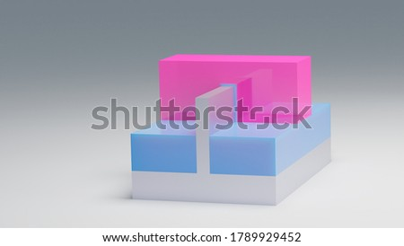 FINFET transistor 3D render. Fin FET transistor used for building semiconductor chips and integrated circuits at nano scale. Pink - Gate, blue - Insulator, silver - Substrate. Stok fotoğraf ©