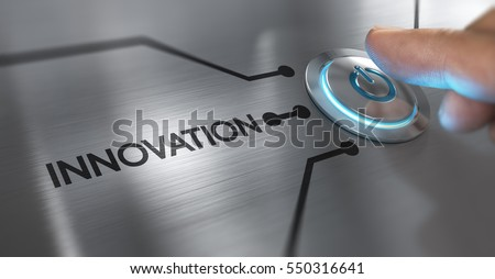 Finger about to press a start button with the word innovation on the left. Composite between an image and a 3D background