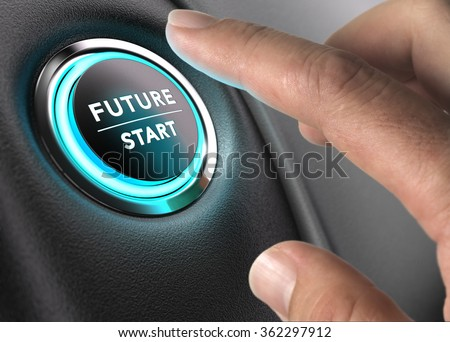 Finger about to press future button with blue light over black and grey background. Concept image for illustration of change or strategic vision.