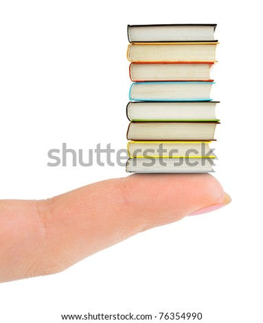 Finger and books isolated on white background