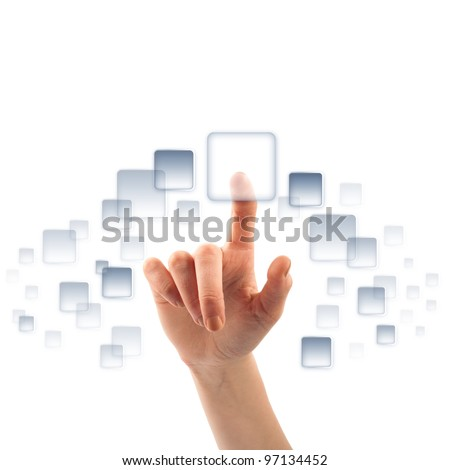 Finger and button on touch screen