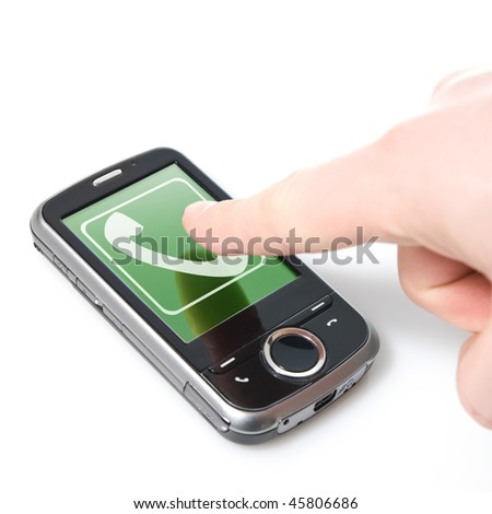 finger and pda with incoming call isolated on white