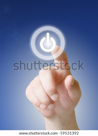 finger and power button on touch screen