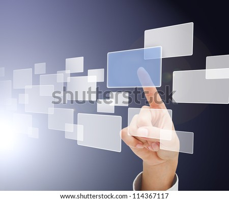 Finger choosing square from digital menu in blue